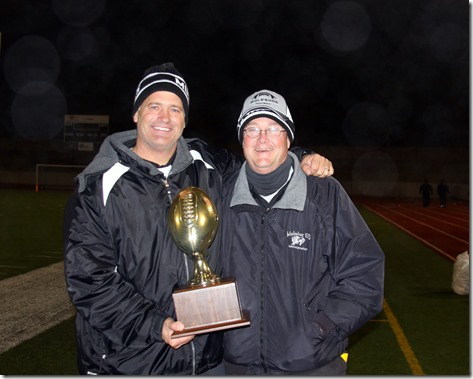 Coach Wood and Sam Dec. 2, 2011 Ratliff Stadium, Odessa TX, Mulseshoe vs Eastland, Regional Quarter Finals, Win for Muleshoe, 43 to 36